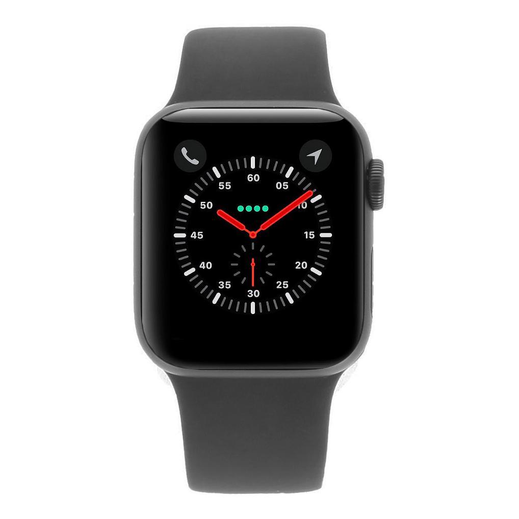 Apple Watch Series 4 Aluminiumgehäuse grau 40mm mit Sportarmband schwarz (GPS) aluminium grau