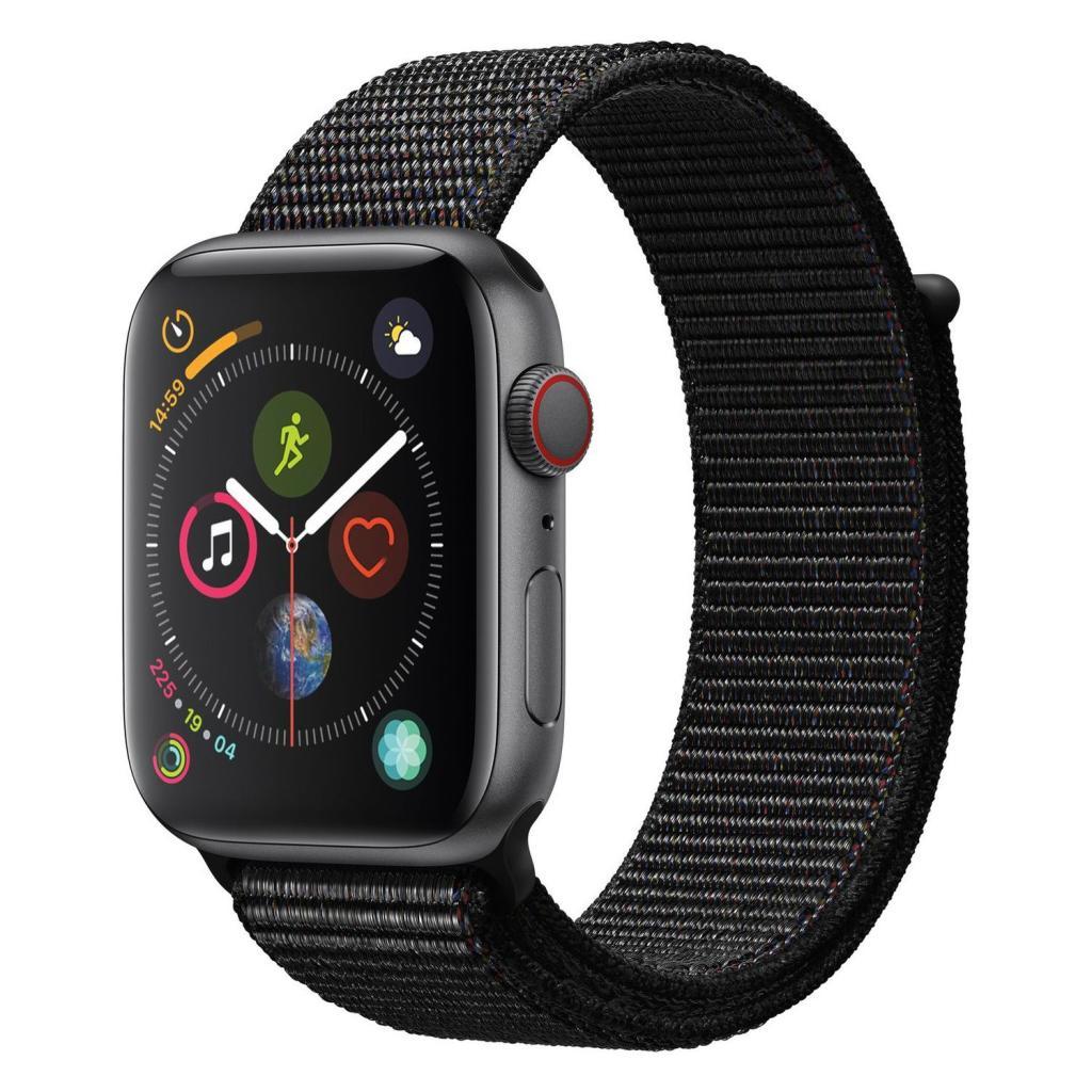 Apple Watch Series 4 Aluminiumgehäuse grau 44mm mit Sport Loop schwarz (GPS + Cellular) aluminium grau