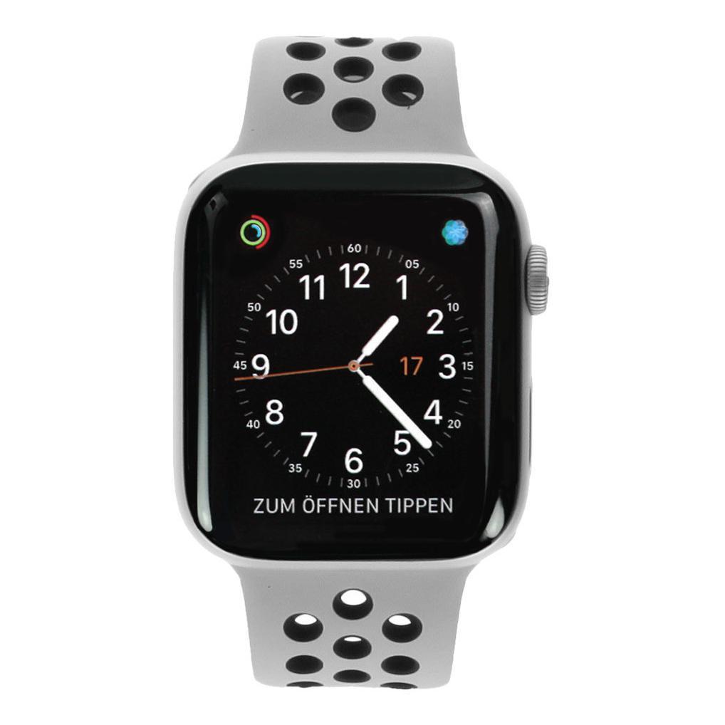 Apple Watch Series 4 Nike+ Aluminiumgehäuse silber 44mm mit Sportarmband platinum/schwarz (GPS + Cellular) aluminium silber