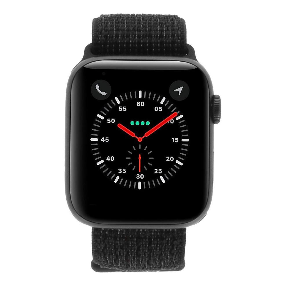 Apple Watch Series 4 Nike+ Aluminiumgehäuse grau 44mm mit Sport Loop schwarz (GPS + Cellular) aluminium grau