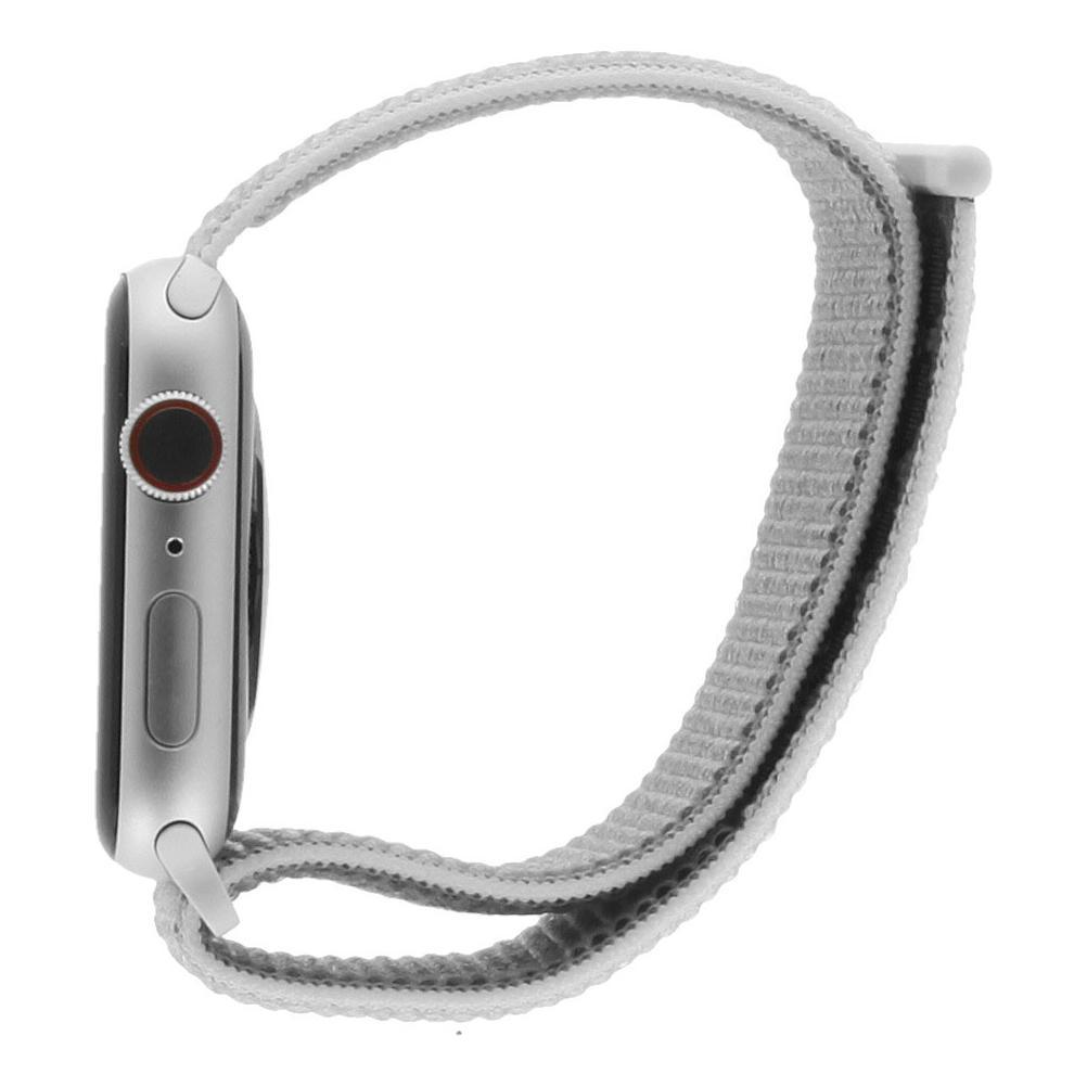 Apple Watch Series 4 Nike+ Aluminiumgehäuse silber 44mm mit Sport Loop weiss (GPS + Cellular) aluminium silber