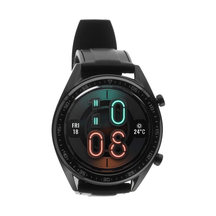 Huawei Watch GT schwarz mit Silikonarmband schwarz  schwarz