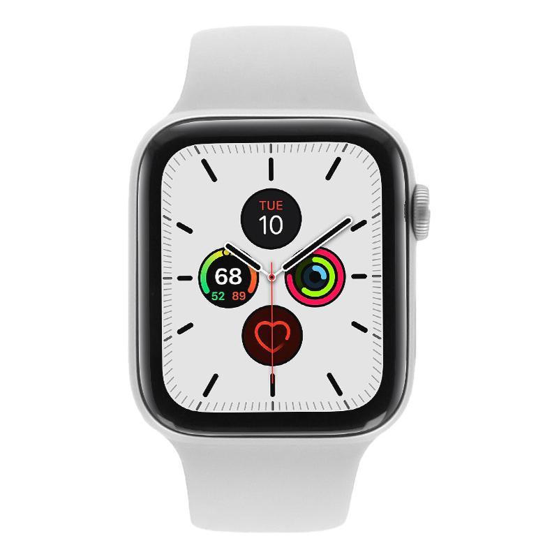 Apple Watch Series 5 Aluminiumgehäuse silber 44mm mit Sportarmband weiß (GPS + Cellular) silber