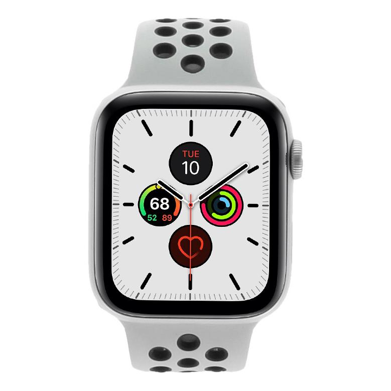 Apple Watch Series 5 Nike+ Aluminiumgehäuse silber 44mm mit Sportarmband platinum/schwarz (GPS + Cellular) silber