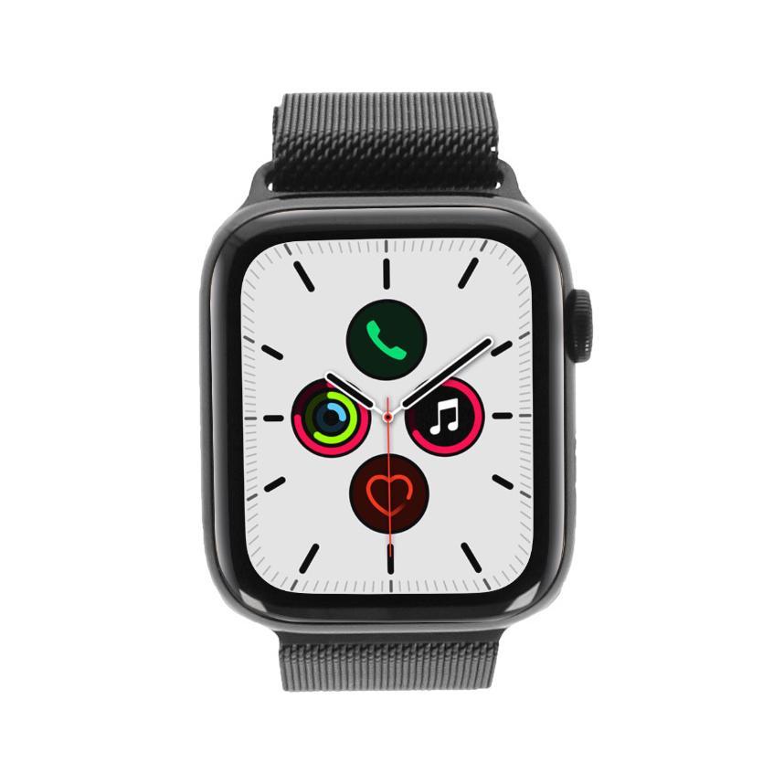 Apple Watch Series 5 Edelstahlgehäuse schwarz 44mm mit Milanaise-Armband spaceschwarz (GPS + Cellular)