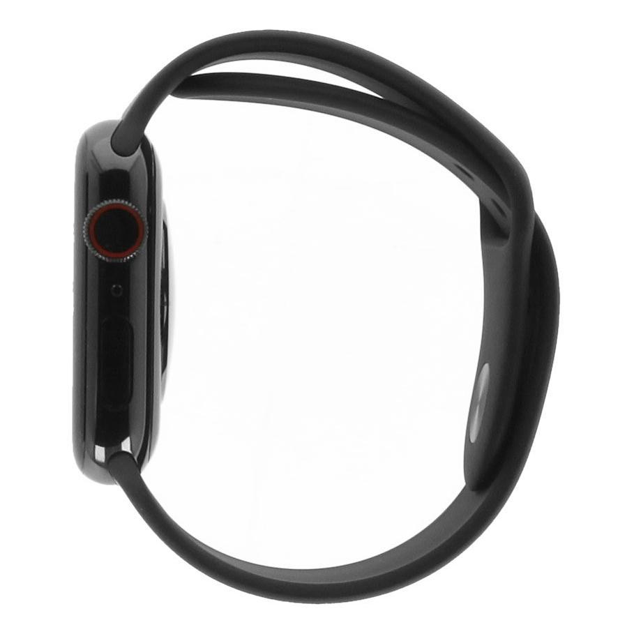 Apple Watch Series 4 Edelstahlgehäuse schwarz 44mm mit Sportarmband schwarz (GPS + Cellular) edelstahl spaceschwarz