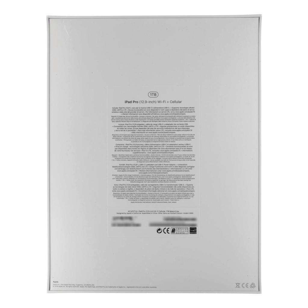 """Apple iPad Pro 12,9"""" +4G (A1895) 2018 1TB gris espacial"""
