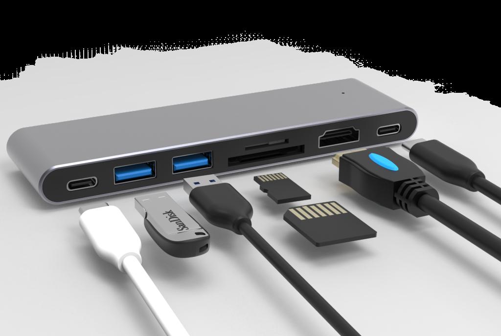 USB-C Hub 7 in 1 -ID17568 grau